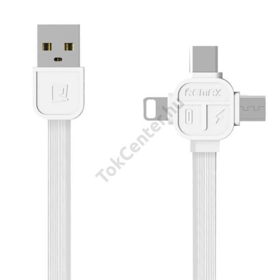 REMAX LESU 3IN1 RC-066 LIGHTNING, USB TYPE-C, MIRO USB KÁBEL 1 MÉTER FEHÉR