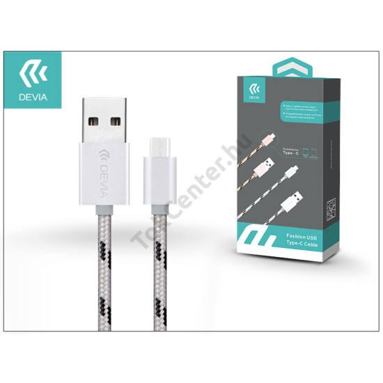 USB - USB Type-C adat- és töltőkábel 1 m-es vezetékkel - Devia Fashion USB Type-C Cable - silver