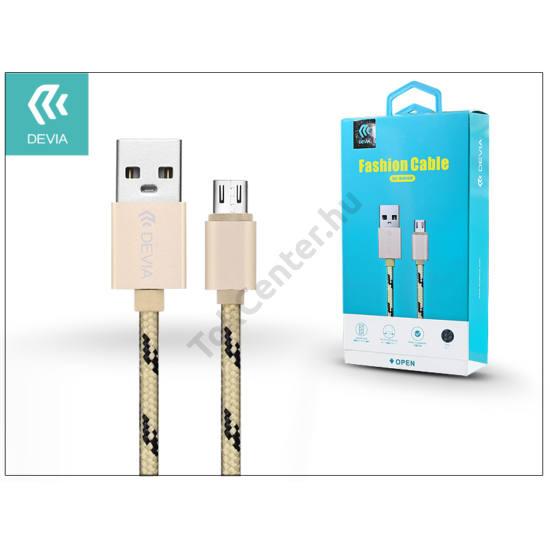 USB - micro USB adat- és töltőkábel 1 m-es vezetékkel - Devia Fashion Cable - champagne gold
