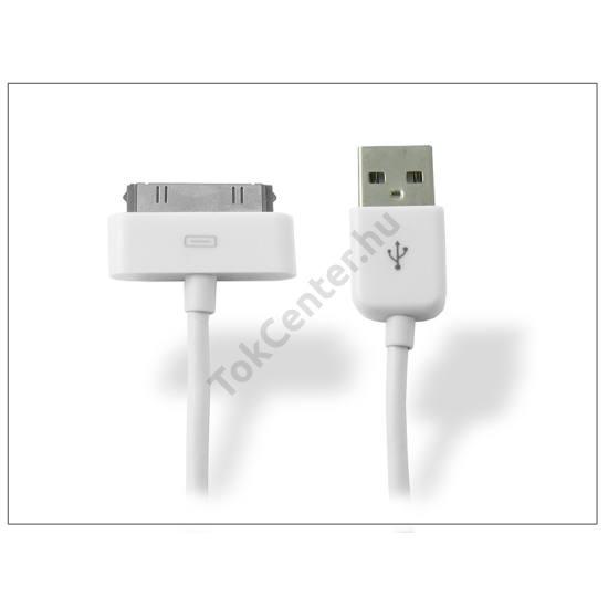 Apple iPhone 3G/3GS/4/4S/iPad/iPad2/iPad3 USB adat- és töltőkábel - 100 cm-es vezetékkel - fehér - utángyártott