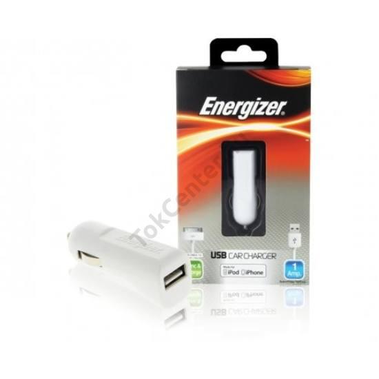Energizer 30 tűs/iphone szivargyújtó töltő,1usb,1A