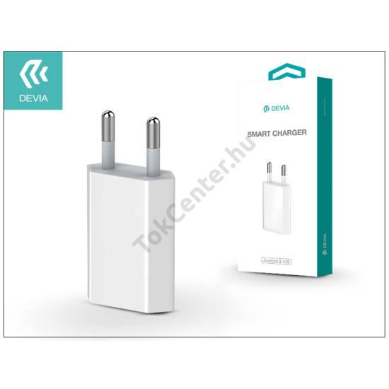 USB hálózati töltő adapter - Devia Smart Charger - 5V/1A - white