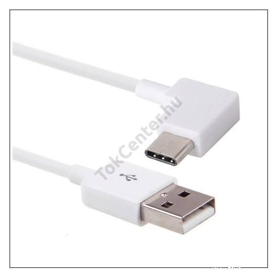 Adatátvitel adatkábel (USB Type-C 3.1, 120 cm hosszú, 90 fokos/derékszög) FEHÉR