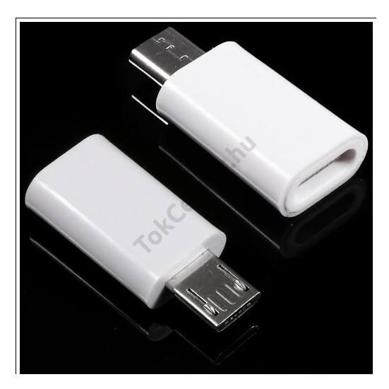 Adapter (USB Type-C 3.1 - microUSB, töltéshez, adatátvitelhez) FEHÉR