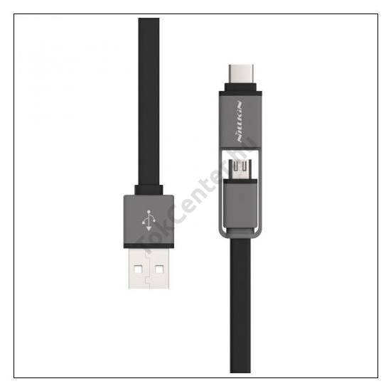 NILLKIN PLUS adatátvitel adatkábel és töltő (microUSB és Lightning 8pin, 120 cm hosszú, lapos kábel) SZÜRKE