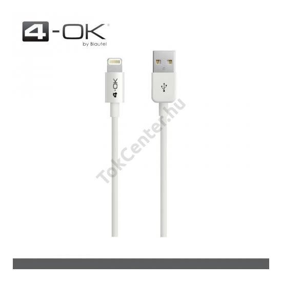 4-OK adatátvitel adatkábel és töltő (Lightning 8pin, 100 cm hosszú, iOS7 támogatás, MFi Apple engedélyes) FEHÉR