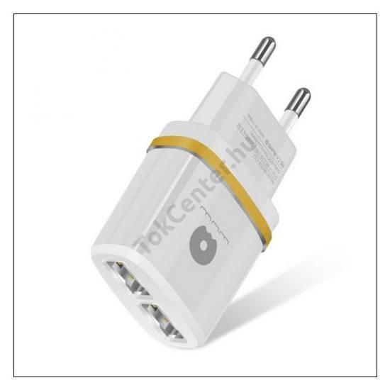 WUW hálózati adapter, 2 x USB aljzat (5V / 2100mA, kábel NÉLKÜL!) FEHÉR/ARANY