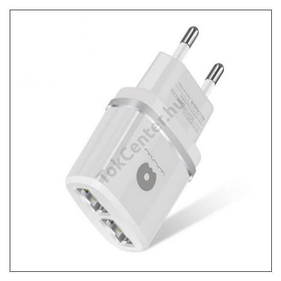 WUW hálózati adapter, 2 x USB aljzat (5V / 2100mA, kábel NÉLKÜL!) FEHÉR/EZÜST