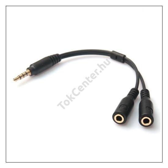 Audió adapter (3.5mm jack dugó + 1 jack aljzat, 1 mikrofon aljzat, 10 cm) FEKETE