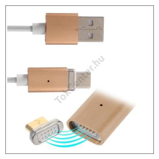 Adatátvitel adatkábel és töltő (gyors mágnescsatlakozó, USB Type-C, 120 cm hosszú) FEHÉR/ARANY