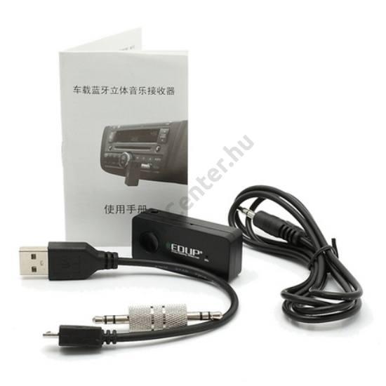 EDUP BLUETOOTH audió adapter telefon és hifi közé (3.5mm jack dugó) FEKETE