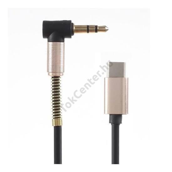 Audió adapter (USB Type-C - 3.5 mm jack csatlakozó, kábeltörés elleni védelem) FEKETE