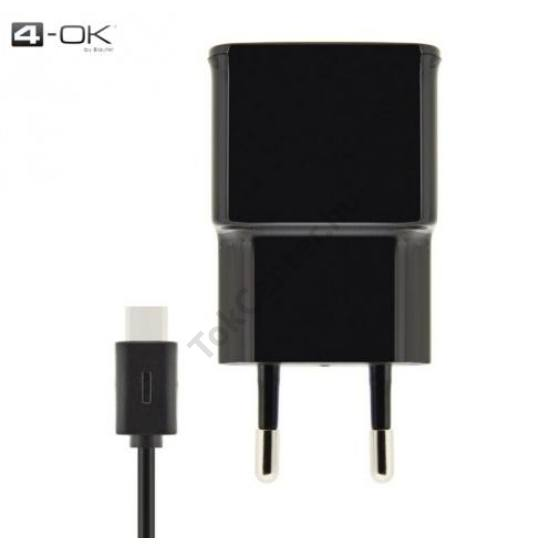 4-OK hálózati töltő 2 x USB aljzat (220V/2000 mA, USB Type-C kábel) FEKETE