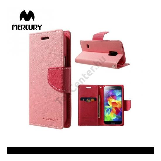 Samsung Galaxy S V. mini (SM-G800) MERCURY Fancy Diary tok álló, bőr (FLIP, mágneses, oldalra nyíló, bankkártya tartó, asztali tartó funkció) RÓZSASZÍN
