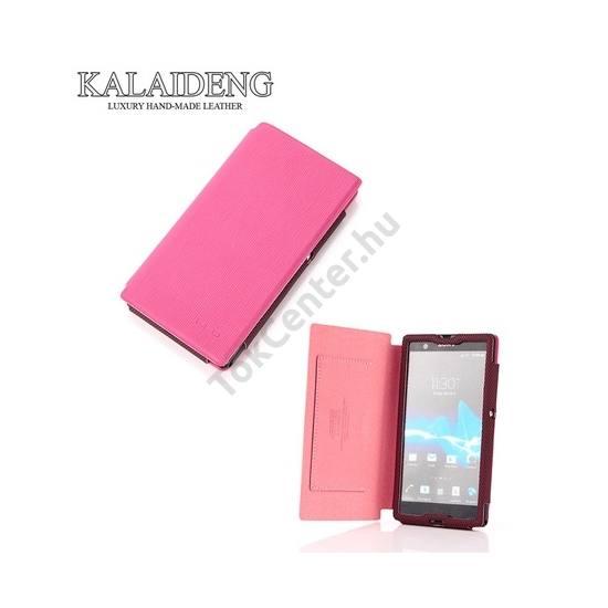 Sony Xperia Z (C6603) KALAIDENG CHARMING II. tok álló, bőr (FLIP, mágneses, oldalra nyíló, bankkártya tartó, kéregminta) RÓZSASZÍN