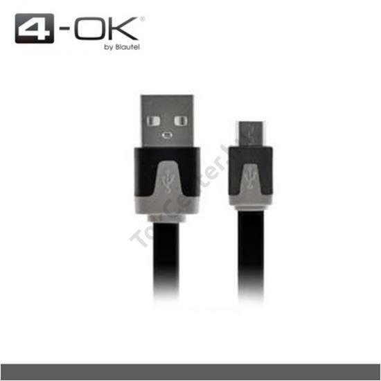 4-OK adatátvitel adatkábel és töltő (microUSB, töltővel töltőként is használható, 1m lapos kábellel) FEKETE