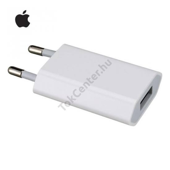 Hálózati adapter, USB aljzat (5V / 1000mA, 5W, kábel NÉLKÜL!) FEHÉR