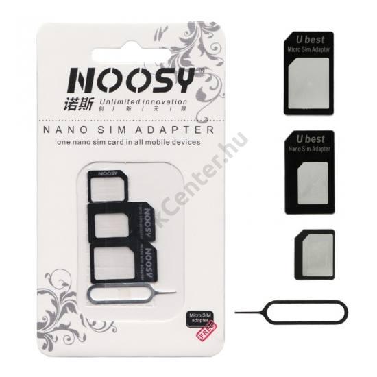 UNIV SIM adapter (Nano SIM kártyát Micro SIM és normál méretű kártyára alakítja át, kártya kiemelő) FEKETE