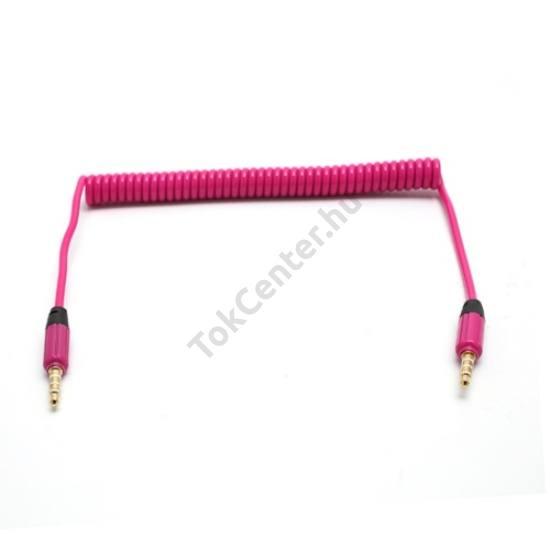 Audió kábel (2 x 3.5 mm, 4 pólusú jack csatlakozó, 0.35m, spirálkábel, AUX) RÓZSASZÍN