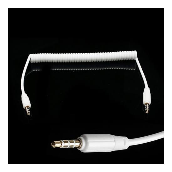 Audió kábel (2 x 3.5 mm, 4 pólusú jack csatlakozó, 0.35m, spirálkábel, AUX) FEHÉR