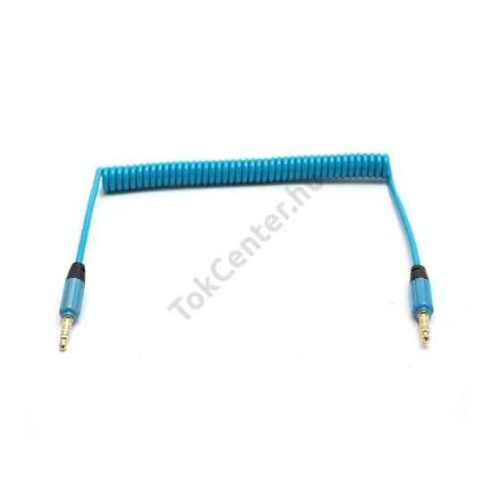 Audió kábel (2 x 3.5 mm, 4 pólusú jack csatlakozó, 0.35m, spirálkábel, AUX) KÉK