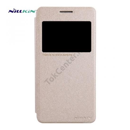 Samsung Galaxy Grand Prime (SM-G530F) NILLKIN SPARKLE műanyag telefonvédő (mikroszálas bőr flip, oldalra nyíló, hívószámkijelzés, S-View Cover) ARANY