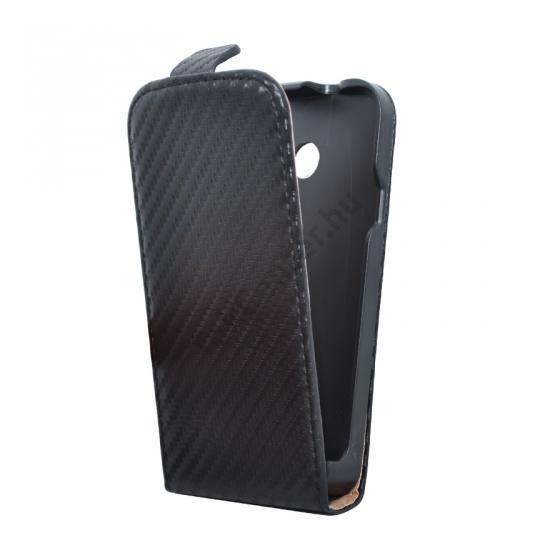 Huawei Ascend Y330 Tok álló, bőr (FLIP, mágneses, karbon minta) FEKETE