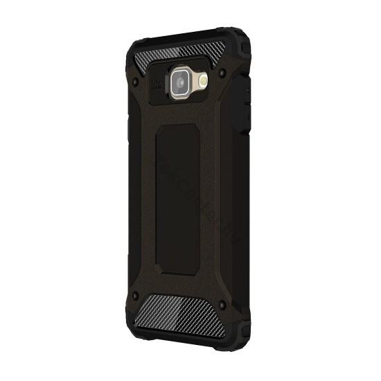 Samsung Galaxy A5 (2016) (SM-A510F) Defender műanyag telefonvédő (közepesen ütésálló, gumi / szilikon belső, fémhatás) FEKETE