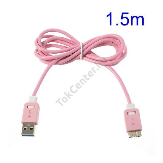 Adatátvitel adatkábel és töltő (micro-B USB 3.0, 150 cm hosszú) RÓZSASZÍN