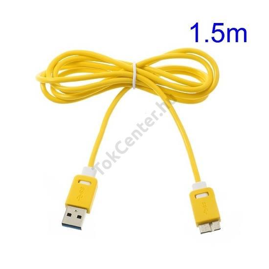 Adatátvitel adatkábel és töltő (micro-B USB 3.0, 150 cm hosszú) SÁRGA