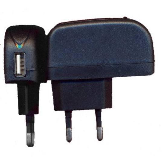 Hálózati töltő USB aljzattal (5V/500mA) FEKETE