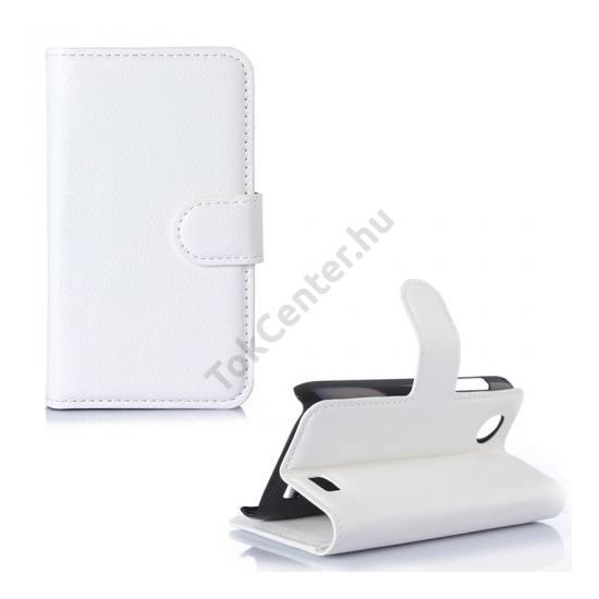 Lenovo A369i Tok álló, bőr (FLIP, mágneses, oldalra nyíló, bankkártya  tartó, asztali tartó funkció) FEHÉR