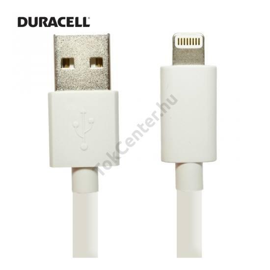 DURACELL adatátvitel adatkábel és töltő (Lightning 8pin, 2m, iOS7 támogatás, MFi Apple engedélyes) FEHÉR