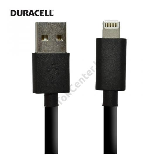 DURACELL adatátvitel adatkábel és töltő (Lightning 8pin, 2m, iOS7 támogatás, MFi Apple engedélyes) FEKETE