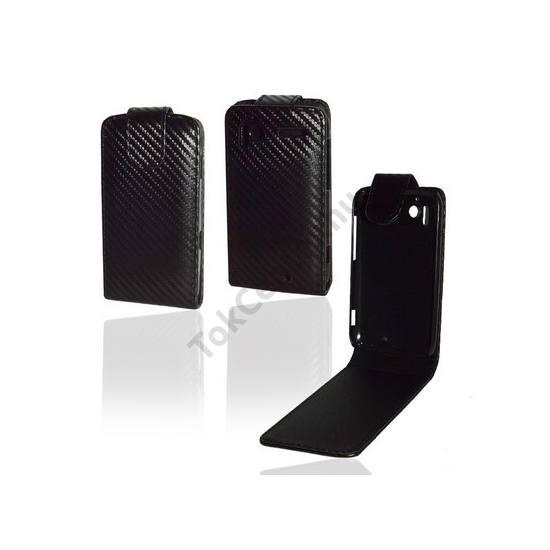 HTC Sensation (Z710e) Tok álló, bőr, Flip, (mágneses, karbon minta) FEKETE