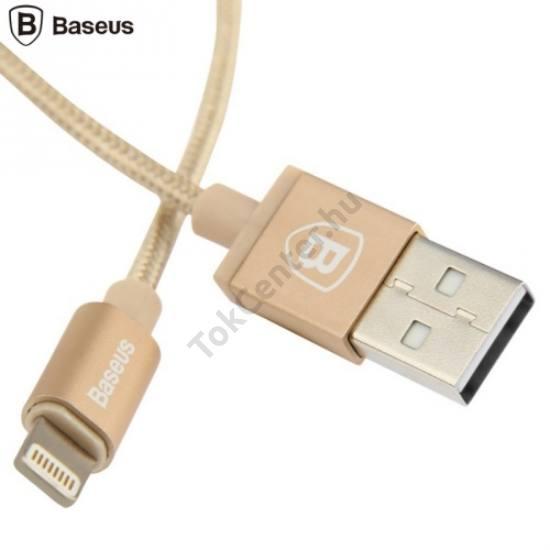 BASEUS adatátvitel adatkábel és töltő (Lightning 8pin, 1m, iOS7 támogatás, MFi Apple engedélyes) ARANY