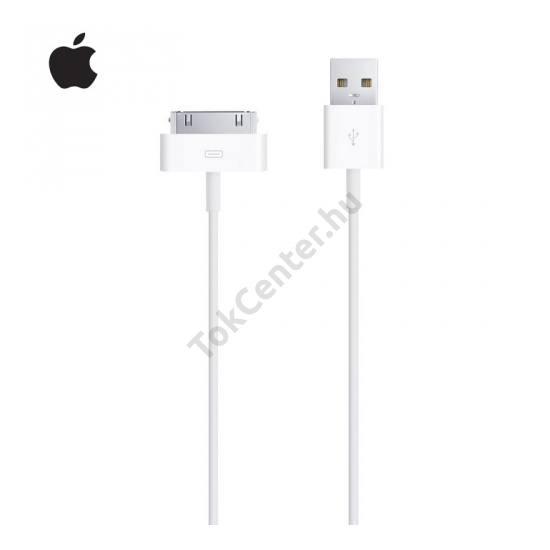 Apple iPhone 4 Adatátvitel adatkábel (USB, 30pin, iOS7 támogatás, MFi Apple engedélyes) FEHÉR