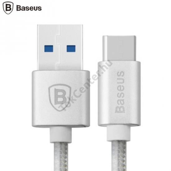 BASEUS adatátvitel adatkábel és töltő (USB Type-C, 1m, cipőfűző minta) EZÜST