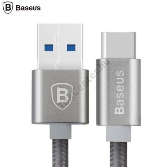BASEUS adatátvitel adatkábel és töltő (USB Type-C, 1m, cipőfűző minta) SZÜRKE