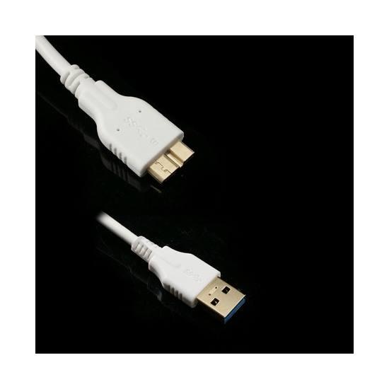 Adatátvitel adatkábel és töltő (micro-B USB 3.0, 300 cm hosszú) FEHÉR
