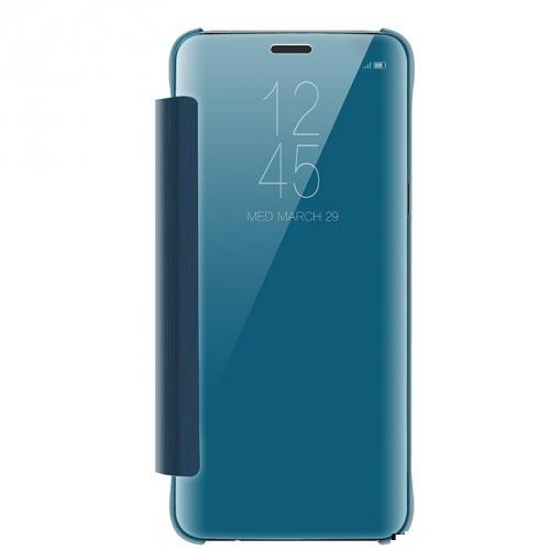 SAMSUNG Galaxy S9 Plus (SM-G965) Tok álló (aktív flip, oldalra nyíló, tükrös felület, Mirror View Cover) KÉK