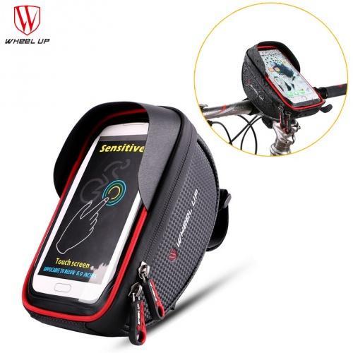 7c9d24220080 WHEEL UP telefon tartó kerékpár (napellenző, kormányra rögzíthető, vízálló,  táska, iPhone X méret) FEKETE/PIROS