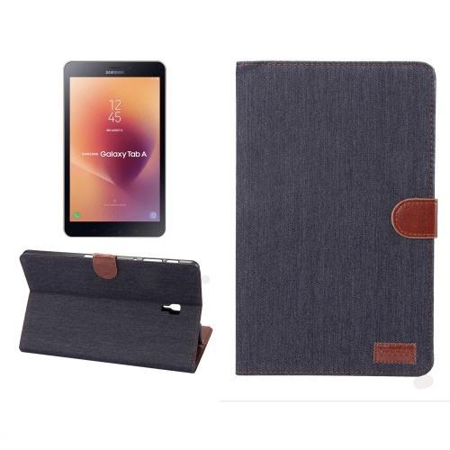 SAMSUNG Galaxy Tab A 10.5 LTE (2018) SM-T595 /SAMSUNG Galaxy Tab A 10.5 WIFI (2018) SM-T590 Tok álló, bőr (FLIP, oldalra nyíló, asztali tartó funkció, textil bevonat) SÖTÉTKÉK