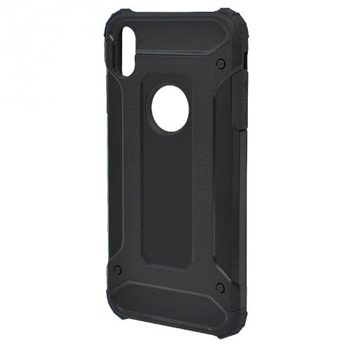 APPLE IPhone XS Max 6.5 Defender műanyag telefonvédő (közepesen ütésálló, gumi / szilikon belső, fémhatás, logo kivágás) FEKETE