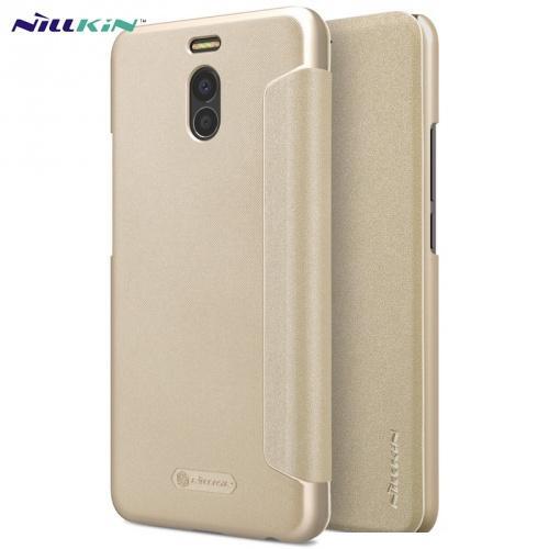MEIZU M6 Note NILLKIN SPARKLE műanyag telefonvédő (mikroszálas bőr aktív flip, oldalra nyíló) ARANY