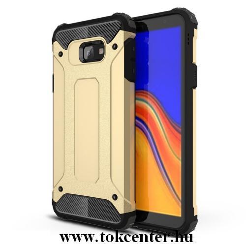 SAMSUNG Galaxy J4 Plus (J415F) Defender műanyag telefonvédő (közepesen ütésálló, légpárnás sarok, gumi / szilikon belső, fémhatás) ARANY