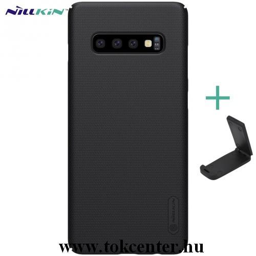SAMSUNG Galaxy S10 (SM-G973) NILLKIN SUPER FROSTED műanyag telefonvédő (gumírozott, érdes felület + asztali tartó) FEKETE