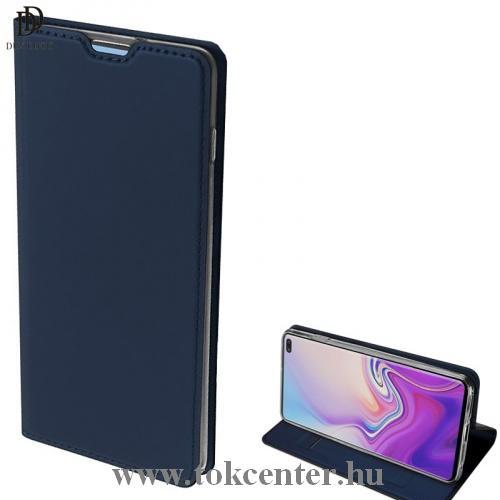 SAMSUNG Galaxy S10 Plus (SM-G975) DUX DUCIS SKIN PRO tok álló, bőr (FLIP, oldalra nyíló, bankkártya tartó, asztali tartó funkció) SÖTÉTKÉK