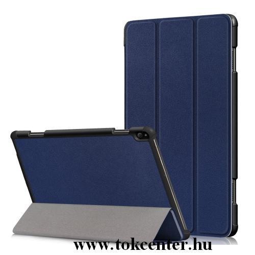 Samsung Galaxy Tab A 10.1 LTE (2019) SM-T515 /Samsung Galaxy Tab A 10.1 WIFI (2019) SM-T510 Tok álló, bőr (FLIP, TRIFOLD asztali tartó funkció) SÖTÉTKÉK