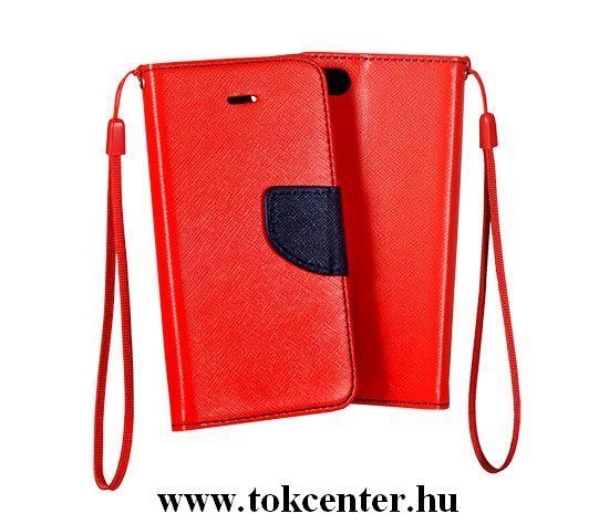 FANCY Samsung G930 Galaxy S7 piros-sötétkék szilikon keretes könyvtok